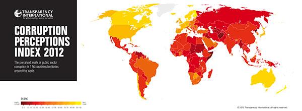 Mapa da Corrupção Mundial 2012