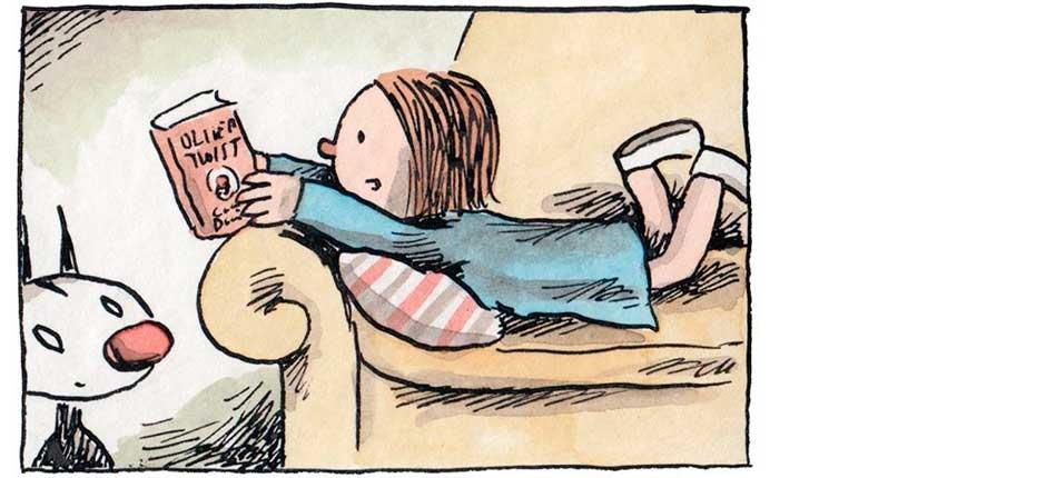 As leituras de Enriqueta, por Liniers