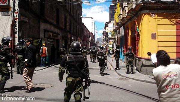Manifestação em La Paz, Bolívia.